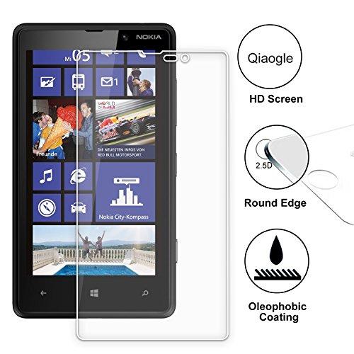 Qiaogle Premium Temperato di Protezione di Vetro Film perNokia Lumia 820 Vetro Temperato Screen Protector (9H * 2.5D)