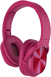 NO.2 BAG Noise Cancelling Headphones Wireless Bluetooth Over The Ear, Foldable Wireless and Wired Stereo Headphones Buit in Mic, Comfortable Protein Earpads for PS4 TV PC-Pink