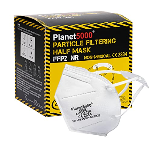 Planet5000 - 20 Mascherine FFP2 Certificate CE - Maschera Ffp2 Adulti Bianca 5 Strati Confezionata Singolarmente (20 pezzi) Con Ganci Salvaorecchie - Taglia unica