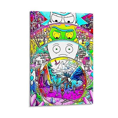 DRAGON VINES Póster de dibujos animados de animación Rick and Morty Multiverso de fantasía sobre lienzo impreso moderno para decoración de pared para oficina enmarcado 30 x 45 cm