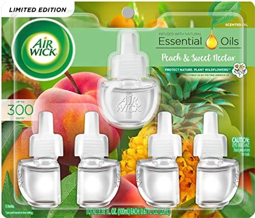 Air Wick Plug in Scented Oil Refill Fresh Peach and Sweet Nectar Air Freshener Essential Oils product image
