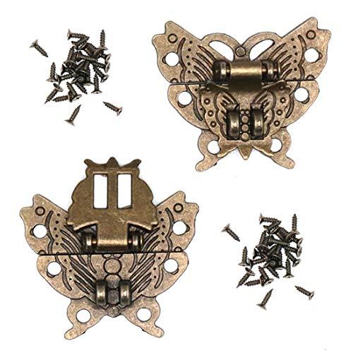 Karcy - Juego de 2 broches de mariposa vintage con tornillos, diseño antiguo en relieve, color bronce decorativo