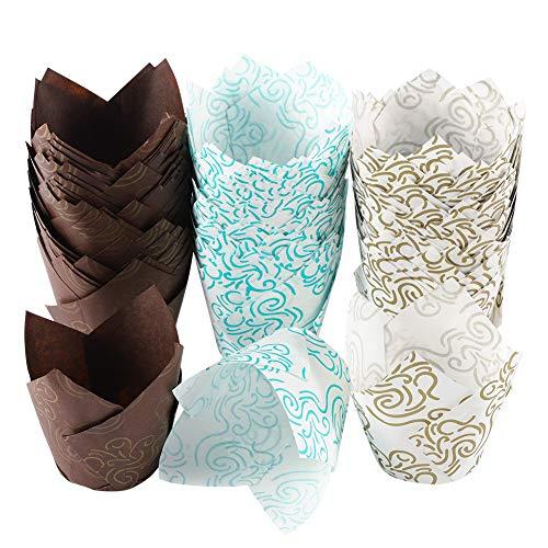 Xinzistar - 150 moldes de papel para magdalenas, tulipanes, forros para cupcakes y magdalenas, para banquetes, catering, bodas, cumpleaños