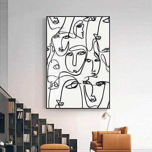 Cuadro de Arte Abstracto Moderno Impresión de Lienzo nórdico Pintura Arte de la Pared Figura Dibujo Lineal Carteles e Impresiones para la decoración del hogar de la Sala de estar-40x60cm (sin Marco)