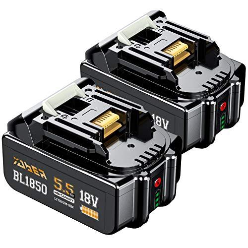 2 Pièces BL1850B 5.5Ah Batterie, YABER 18V Batterie de Remplacement pour BL1850B BL1850 BL1860 BL1860B BL1840 BL1830 BL1815 BL1835 BL1845 LXT-400 avec Indicateur Vertical