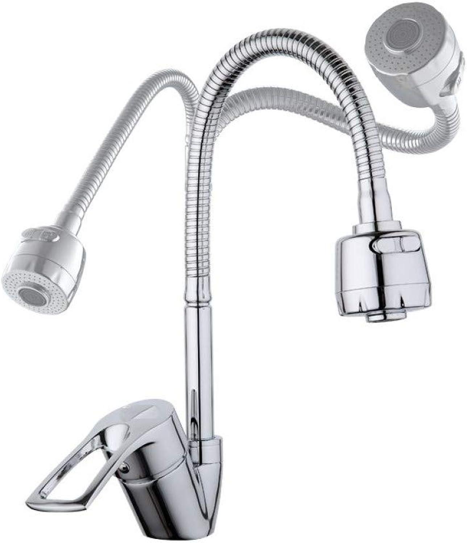 ZHFJGKR&ZL Wasserhahn Küchenmixer Kalt- und Heiflexible Küchenarmatur Einhebel-Loch-Wasserhahn Küchenarmatur