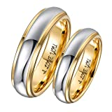 Aeici 6MM Tungsten Wedding Band for Men Polished Two Tone Engraved I Love You Promise Anniversary Rings Size 7