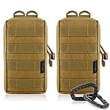 2-pack Molle bolsas–Tactical compacto resistente al agua bolsa EDC, Bronceado
