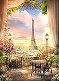 ZXXGA Pintura De Diamantes 5D,Torre Eiffel 40x50cm,Bordado de Cristal para Manualidades Punto de Cruz Kit Artes artesanales Lienzo decoración de Pared
