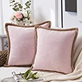 Phantoscope Pack of 2 Farmhouse Decorative Throw Pillow Covers Burlap Linen Trimmed Tailored Edges Light Pink 18 x 18 inches, 45 x 45 cm