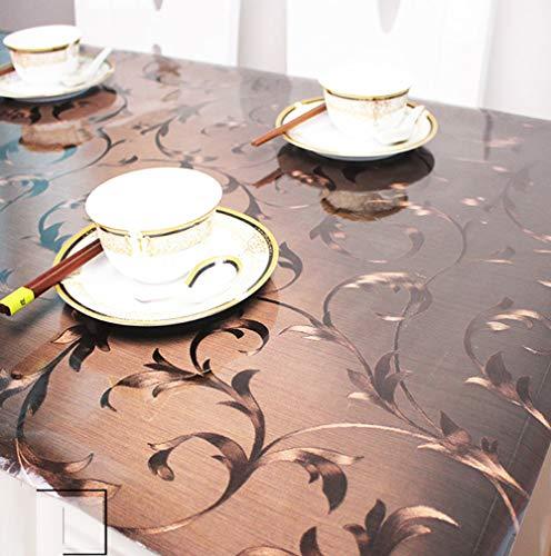 DENG&JQ Schwarz Matt PVC Tischdecken,Transparent Weichglas Wasserdicht Esstisch Tischdecken Kunststoff TischMatt Waschen Öl Coffee Table-C 90x150cm(35x59inch)