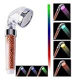 Nosame Cabezal de ducha LED, filtro iónico de alta presión, ahorro de agua, 7 colores automáticamente, no necesita pilas, cabezal de ducha de mano para piel seca y cabello