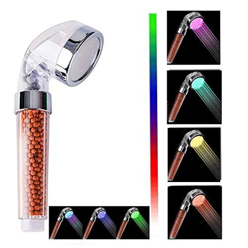 Nosame® Cabezal de ducha LED, filtro iónico de alta presión, ahorro de agua, 7 colores automáticamente, no necesita pilas, cabezal de ducha de mano para piel seca y cabello