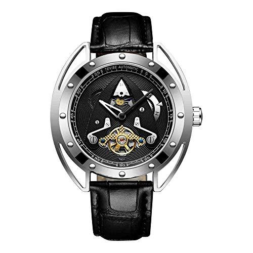 Relojes Automático Mecánico Hombre Correa De Cuero Tourbillon Moon Phase Sport Reloj Plata Negro