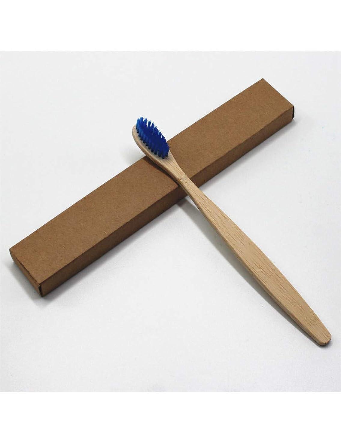 1ピースブルーヘッド竹歯ブラシ環境木製ブルーオーラルケア柔らかい毛、