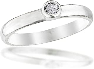 Beloved Child Goods Sterling Silver Baby Ring, Clear Diamond Colored Cubic Zirconia, Size 0