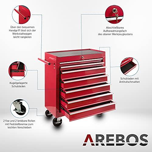 Arebos Werkstattwagen 7 Fächer/zentral abschließbar/Anti-Rutschbeschichtung/Räder mit Festellbremse/Massives Metall/rot, blau oder schwarz (Rot) - 4