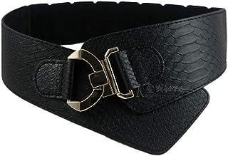 EVEYYWY Cinturón Ancho elástico de Las Mujeres Cinturón rockero de Moda para Mujer Remache de Metal Dorado Ancho para el Abrigo de Vestir Cinturón de Estilo Retro, un Negro