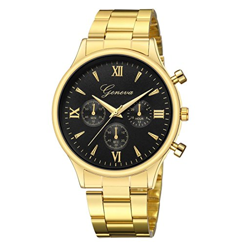 Keepwin Mode-Luxusmänner Passen, Edelstahl Uhr Quarz Analoge Armbanduhr für Geschenk auf (Gold H)