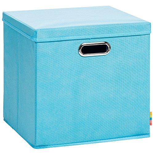 (Storanda) Aufbewahrungsbox LEA mit Deckel - Faltbox - Korb - 33x33x33 cm - (Türkis)