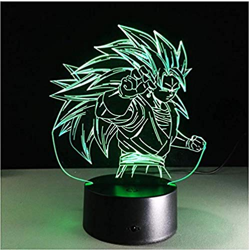 3D 7 Color Light Saiyan 3 Goku 3D Table Lamp 7 Color Changing Figuras Night Lgifts For Boys And Girls