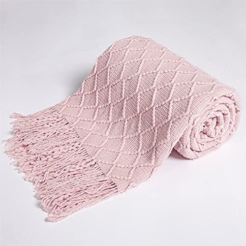 Rongxin Manta de punto para sofá cama, colcha súper suave para cochecito de bebé, manta de tela escocesa (color: canela, tamaño: 150 x 220 cm)