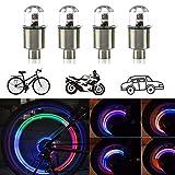CJRSLRB 4Pack Car Tire Wheel Valve Light, Bike LED Wheel Lights, Waterproof Wheel Valve Caps Lights (Colorful)