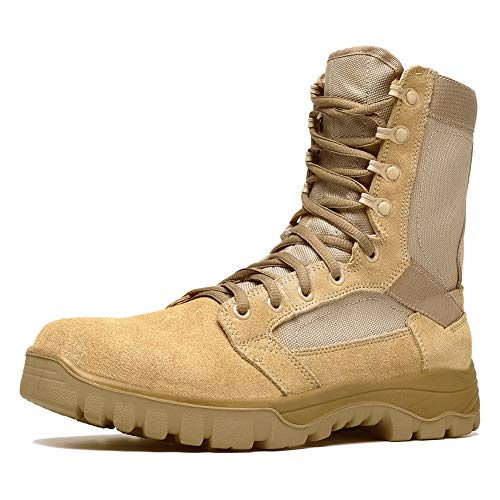 Botas tácticas Militares de Hombre Ultraligero, Tan Botas Jungle Combat, Zapatos de Trabajo y Seguridad (44 EU, Tan)