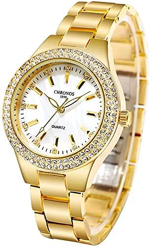 Conemmo Reloj de Reloj de Cristal de Lujo Reloj de Moda clásico de Acero Inoxidable de Acero Inoxidable de Cuarzo Relojes de Pulsera (Band_Color: Oro) (Size : Gold Silver)