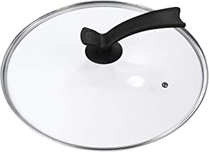 Housoutil Tempered Glass Lid Frying Pan Lid Cookware Lid with Stainless Steel Rim Tempered Replacement Cookware Covers for...