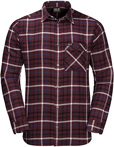 Jack Wolfskin Fraser Island Shirt Homme, Port Wine Checks, FR : L (Taille Fabricant : L)