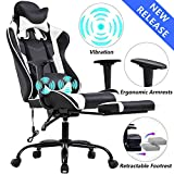 Gaming Chair Office Desk Chair High Back Computer Chair Ergonomic Massage PC Racing Chair with Lumbar Support & Retractable Footrest PU Leather Recliner Rolling Adjustable Swivel Chair for Women Men