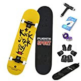 PUENTE Skateboard for Beginner, 31'x 8' Complete Standard Skateboards for Teens, Girls, Boys Beginner, Double Kick Concave Skateboard with 7 Lays Maple Deck Pro Skateboards (Yellow)