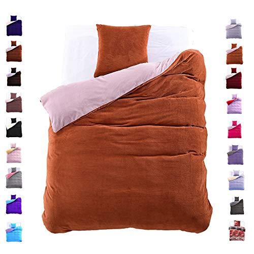 DecoKing 135x200 cm Bettwäsche mit 1 Kissenbezug 80x80 Mikrofaser Weich Warm Winter Kuschelig Bettbezug Bettwäschegarnitur Hellbraun grau Light Brown Grey Furry