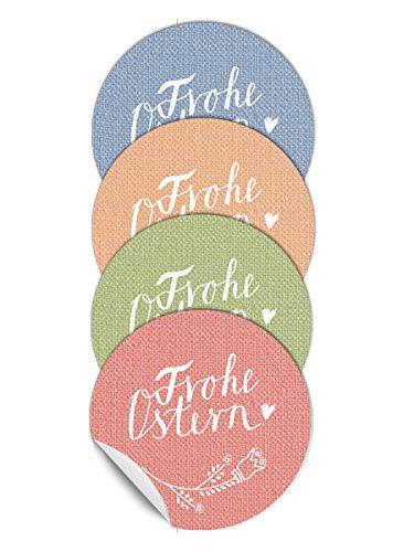 24 gemischte Ostersticker - Frohe Ostern im Kalligrafie Stil, Farbmix in Pastell, 4 Farben, matt, zum Verzieren von Ostergeschenken