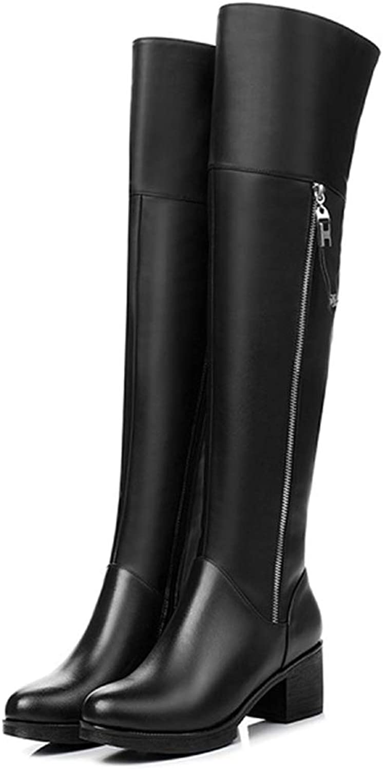 Over Knee Boots Genuine Leather Women shoes Thick Warm Long Boots Fashion High Heel Women Motorcycle Boots