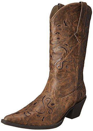 Roper Women's Glitter Underlay Boot, Tan, 8.5 M