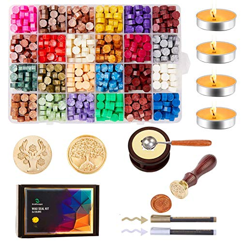 Smalltongue Wax Seal Stamp Kit for Letter, 645Pcs Sealing Wax Beads with 1Pcs Melting Warmer, 1PCS Melting Spoon, 4PCS Candles, 2PCS Replaceable Copper Stamp Heads, 2PCS Pen, for Envelopes, Mail