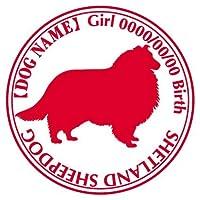 シェットランドシープドッグ ステッカー Cパターン グッズ 名前 シール デカール シェルティー カー 犬 いぬ イヌ シルエット (アップルグリーン)