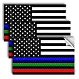 """✔ THREE PACK: Includes 3 - 5"""" x 3"""" reflective america flag stickers, black blue red and green color. ✔ REFLECTIVE AT NIGHT - They look great during the day and even better at night! *They are NOT a flashlight* ✔ INDOOR & OUTDOOR - Can be used on vari..."""