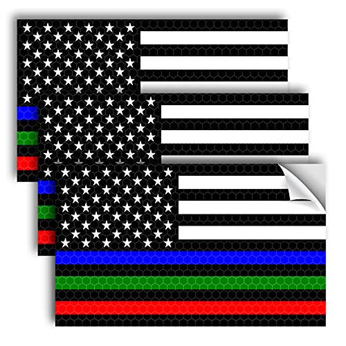 3PC Reflective Thin Line American Flag Sticker - 5x3 Inches - Blue Green and Red Line Decal - US Flag Decals - USA Support Police Military and Firefighter Officers Troops Car Truck Automotive Bumper