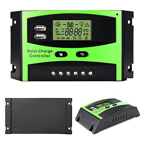 Solar Charger Controller Solar Panel Battery Intelligent Regulator with Dual USB Port PWM LCD Display 30A 12V/24V