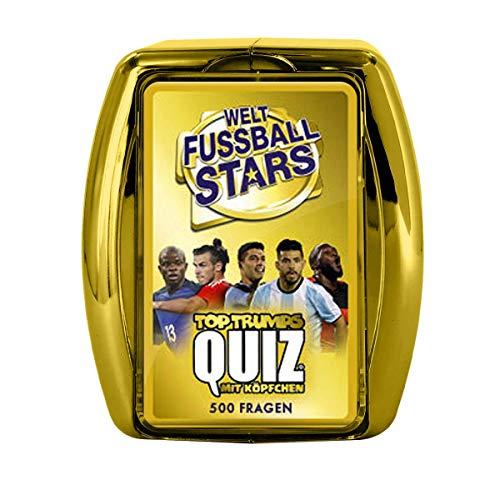 Winning Moves 63360 Top Trumps Quiz Weltfußballstars-Das Frage-und Antwortspiel rund um das Thema Fußball, Wissensspiel