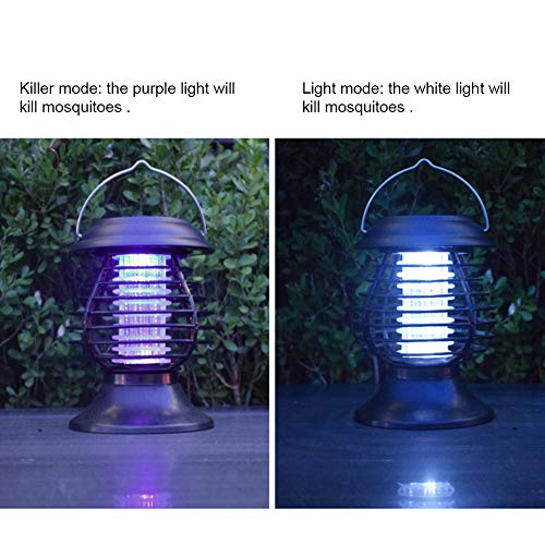 TYX-SS Portable Solar Mosquito Fly Killer Lamp, Bug Zapper 2 in 1 LED Camping Lantern UV Insect Trap,Insect Repellent Outdoor Waterproof Lamp, Garden Light