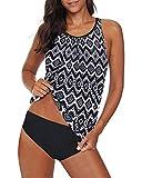 Yonique Black & White Blouson Tankini Swimsuits for Women Modest...