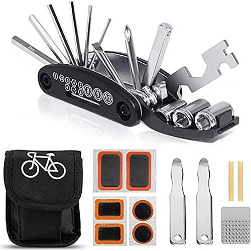 Outdoor Cover Kit de herramientas de bicicleta, kit de reparación de pinchazos, herramienta de reparación multifunción 16 en 1, con kit de parche y palancas de neumáticos, bolsa portátil