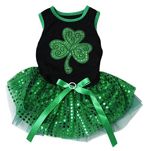 Petitebella Green Sequins Clover Puppy Dog Dress
