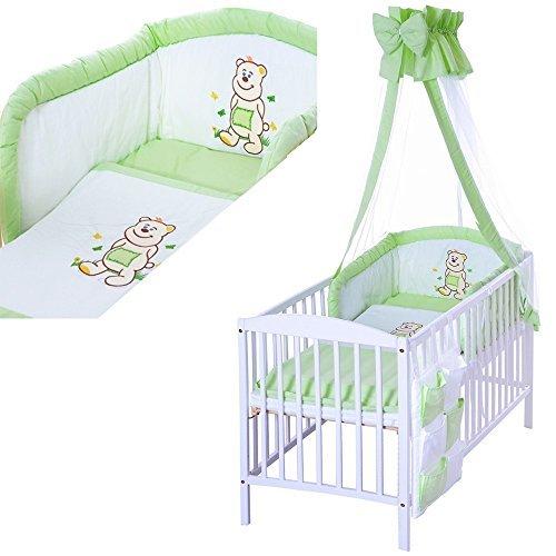 LCP Kids - 9 teiliges Baby Bettwäsche Komplettset mit Himmel, Nestchen - Baumwolle - geprüfte Textilien, Motiv gestickt: Bär grün