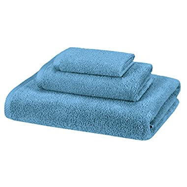 AmazonBasics Quick-Dry Towels - 100% Cotton, 3-Piece Set, Lake Blue