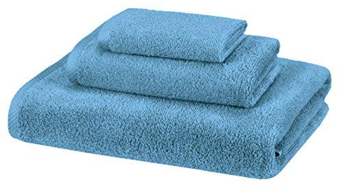 Amazon Basics Quick-Dry Towels - 100% Cotton, 3-Piece Set, Lake Blue